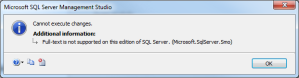 Full-text is not supported on this edition of SQL Server