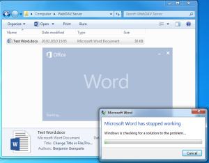 Microsoft Word 2013 Crash