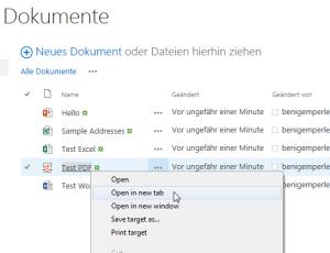 PDF in neuem Tab öffnen per Kontext-Menü
