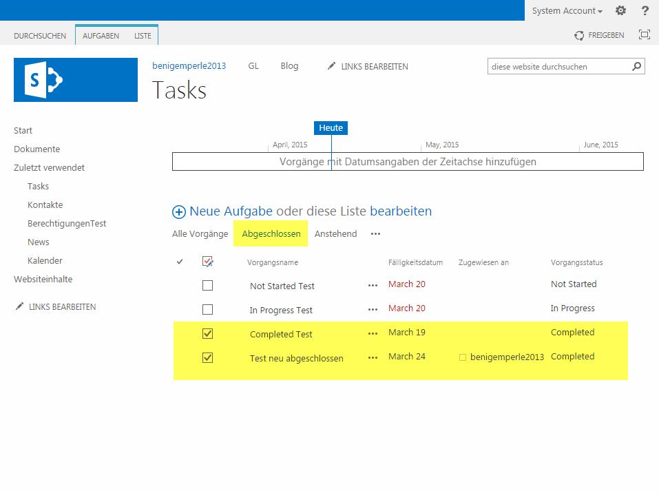 Ansicht-Filter in SharePoint 2013 Task-Listen funktionieren nicht mehr nach SharePoint-Updates vom März 2015