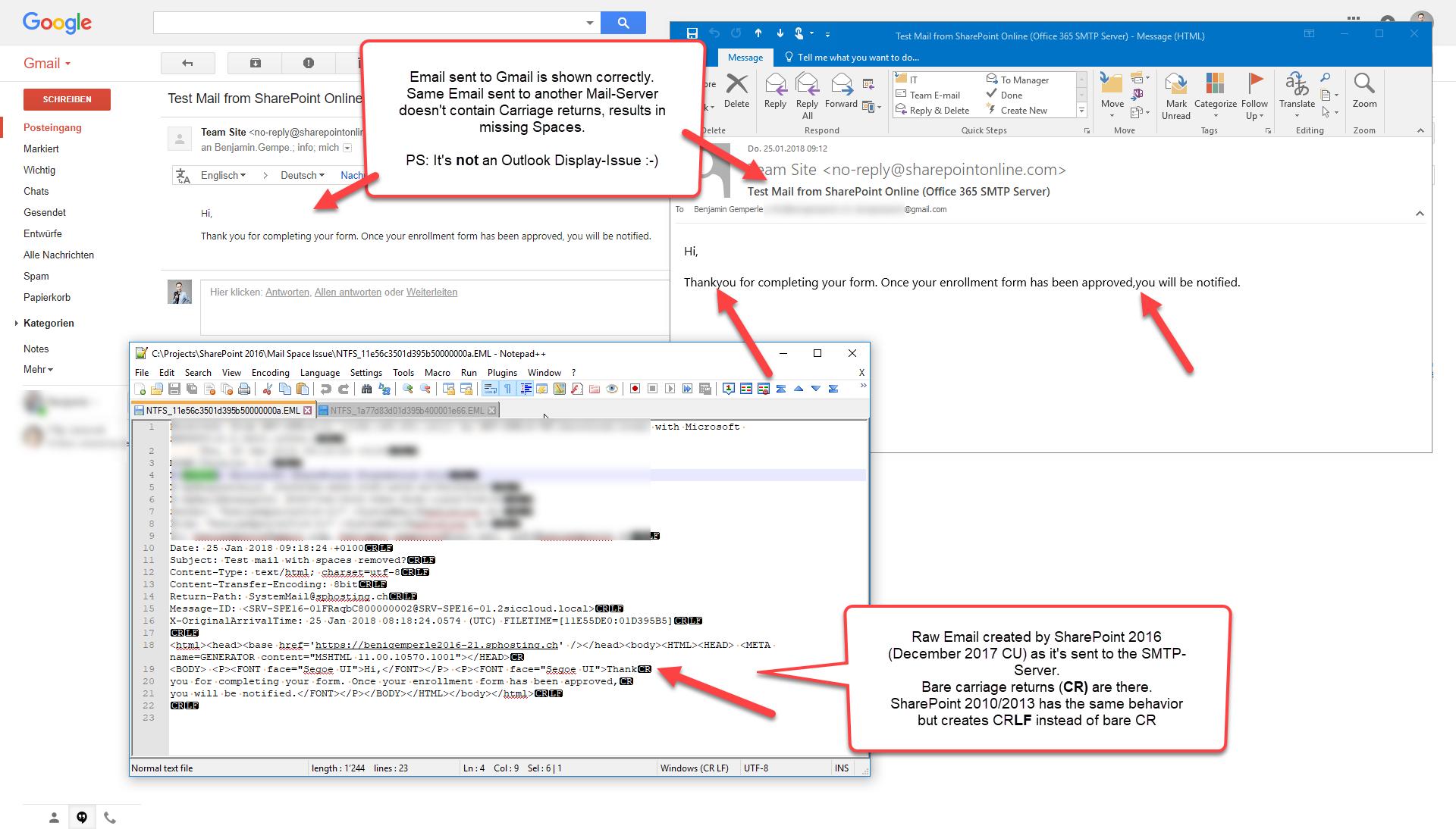 Fehlende Leerzeichen in Emails aus SharePoint Online und 2016 mit 2010er Workflow